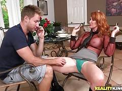 She reached for Hunter`s cock during the interview and offered him an all access membership in exchange for sex. Hunter accepted the deal and went to work. He relentlessly fucked her juicy MILF pussy all over the place and then jizzed on her face.