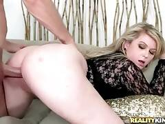 Naughty booty milf gives her partner awesome blowjob.