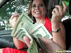 Sexy milf agrees to take off her panties for some cash.