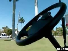 Hot looking redhead milf Joslyn James loves to play golf.