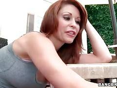 Lovely Monique Alexander readily fleshes her awesome big tits.