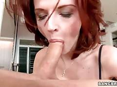 Joslyn James skillfully works her mouth at partner`s boner.