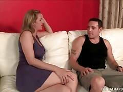 Awesome mature blonde examines her step daughter`s boyfriend.