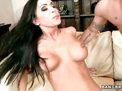 Horny stud screws awesome milf and feeds her with cum.