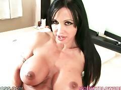 Huge titted mature brunette starves for nice hard dick.