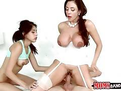 Slutty lady and her step daughter like to get fucked by one guy.