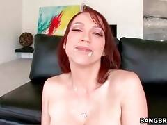 Redhead milf Nicki Hunter tastes cum after awesome anal scene.